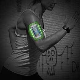 Wholesale Led Running Lights Inch - LED Light Flashing Sport Pouch Running Waterproof Gym Arm Band Case For 5.5 inch Universal Smart Phones