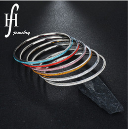 Wholesale Rowing Single - Fashion new large titanium steel bracelet single row of diamond clay stainless steel bracelet explosive jewelry