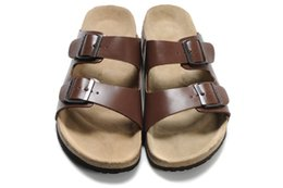 Wholesale Sandal Heels Rubber - New Famous Brand Arizona Men's Flat Sandals Cheap Women Casual Shoes Male Double Buckle Summer Beach Top Quality Genuine Leather Slippers