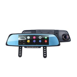 Wholesale Gps Camera Parking Sensor - 6.86 inch Touch RAM 1GB ROM 16GB 2 Split View Android GPS Navigation Mirror Car DVR dual lens camera rear parking WiFi FM Transmit