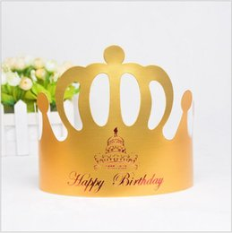 Wholesale birthday cake decorating supplies - Wholesale-100pcs set Crown Cake kids Birthday Caps with string Festivals and Party Supplies decorated birthday party hats 20cm*13.5cm