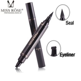 Wholesale Rose Stamp - Miss Rose Stamp Eyeliner & Seal Pencil Professional Eye Makeup Tool Double Heads Two Heads Eyeliner Pen