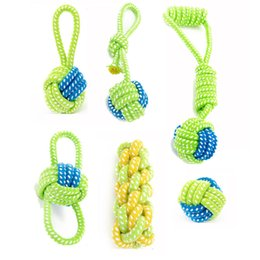 Wholesale Dental Cotton - Dog Toy Dog Chews Cotton Rope Knot Ball Grinding Teeth Pet Puppy Colorful Dental Training Play Toy