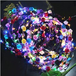Wholesale Glow Toys Flower - Flashing LED Glow Flower Crown Headbands Light Party Rave Floral Hair Garland Wreath Wedding Flower Girl Headpiece Decor CCA7454 100pcs
