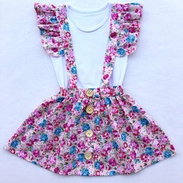 Wholesale Baby Blanks - Rustic Girls Floral Clothes Set Blank Tees Fluffy Sleeve Girls Skirt 2pcs Baby Clothing Set Children Girls Suspender Skirt