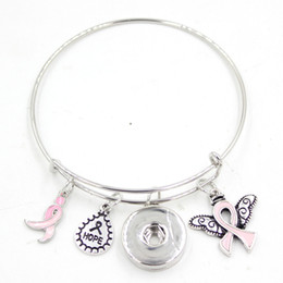 Wholesale Angels Ribbons - New Arrival Snap Jewelry Hope Ribbon Breast Cancer Awareness Pink Ribbon Angel Wing Charm Expandable Adjustable Wire Snap Bangles Bracelet