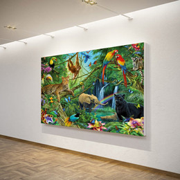 Wholesale Oil Paintings Nudes - 1 Piece Canvas Art Canvas Painting Animals Kingdom Jungle HD Print Wall Art Home Decor Poster Picture for Living Room XA1303C