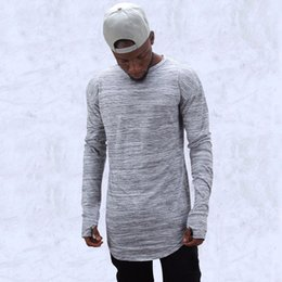 Wholesale hold free - fashion brand t shirts extend hip hop street T-shirt men long sleeve oversize design hold hand free shippi