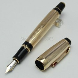 Wholesale Gold Nib Fountain Pen - High Quality Boheme monte silver gold metal Fountain Pen with gemstone14 K nib office school stationery mb brand classic ink pen