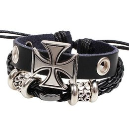 Wholesale Leather Braided Bracelet Personalize - Popular Cross Leather Bracelet Personalized Braided Leather Bracelets Cords for Men Trend Jewelry Xmas Gift Decoration
