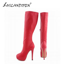Wholesale Womens Size 11 Heels - Wholesale-LOSLANDIFEN Womens Matte Leather Pointed Toe High Heels Autumn Winter Mid Calf Knee Wide Leg Stretch Boots US Size 4-11 819-6MA