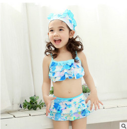 Wholesale Bow Bathing Suits - Children bikini swimsuit girls bows tiered falbala two-piece swimsuit children printed beach swimwear cute kids spa bathing suit T2425