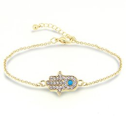 Wholesale Lucky Charm Stone Bracelets - 18K Gold Plated Lucky Hamsa Hand Bracelet Charm Good Natural Turquoise Stone Bracelets and Bangle Friendship