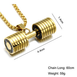 Wholesale Titanium Necklaces For Sports - CWFY Men Gold Color Titanium Stainless Steel GO FIT Dumbbell Gym Fitness Barbell Pendant Necklaces For Men Sport Jewelry