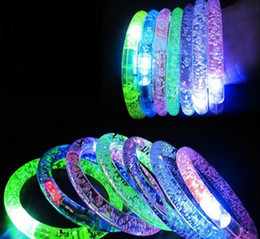 Wholesale Glowing Rings Sticks - 2017 Acrylic Glitter Glow Flash Light Sticks LED Crystal Gradient Color Hand Ring Bracelet Bangle Creativity Dance Party Supplies Toy -Y
