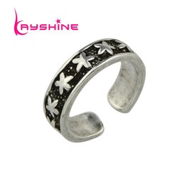 Wholesale Star Punk Rings - Kayshine Punk Style Antique Silver Color Star Shape Midi Female Ring for Women New Open Cuff Knuckle Rings Gift