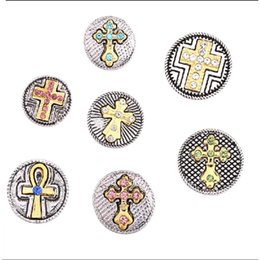 Wholesale Cross Charms For Bracelets Wholesale - STARLISH Brand Mix cross shaped 18mm ginger snap chunk jewelry for interchangeable snap chunks charm bracelet