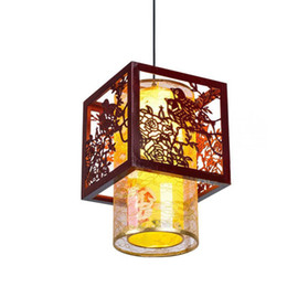 Wholesale Chinese Balcony - Classic Chinese Style Wooden Pendant Lamp Vintage Dining Room Pendant Light Tea House Hallway Balcony Hanging Lamps