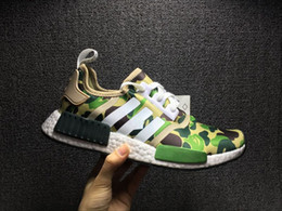 Wholesale Canvas Winter Tennis Shoes - NMD R1 X Bapes Running Shoes Green Camo Sneakers Basf Boost Size Women Men Original Quality BA7326 2017 Hot Sale Release