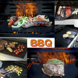 Wholesale Multi Grill - 2017 New Arrival Heat Resistance BBQ Grill Mat with 3 Colors Portable Easy Clean Non-stick Reusable Roast Pads in Stock BBQ01