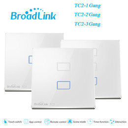 Wholesale Touch Screen Wall Switch Eu - Wholesale-EU UK Standard BroadLink TC2 1 2 3 Gang Smart Switch Wall Light Lamps Touch Screen Wireless WiFi Remote Control Home Automation