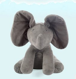 Wholesale Music Baby - 30CM Plush ANIMATED FLAPPY the ELEPHANT plush toy PEEK A BOO SINGING baby music toy Ears Flap And Move funny toys