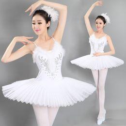 Wholesale Silk Tutu Ballet - Free Shipping Hot Sale Adult Professional Swan Lake Tutu Veil Ballet Dance Dress Costume Hard Organdy Platter Skirt Dance Dress