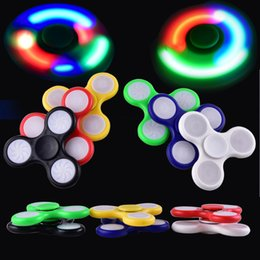 Wholesale Top Vehicle Light - LED Light Hand Spinners Fidget Spinner Top Quality Triangle Finger Spinning Top Colorful Decompression Fingers Tip Toys OTH384