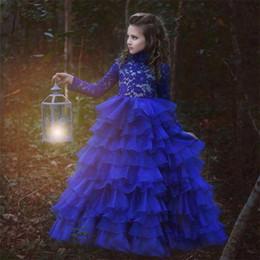 Wholesale Organza Applique Flower Girl Dress - 2017 Vintage Long Sleeve Wedding Guest Dresses Pageant Dresses High Neck Royal Blue Lace Tiers Organza Flower Girl Dresses
