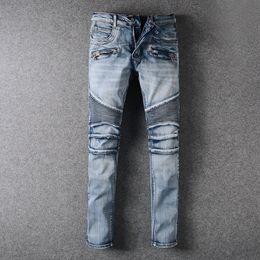 Wholesale Dark Blue Skinny Jeans - Blue Jeans for Men Classic Jeans Knee Drape Panel Moto Biker Slim Denim Jeans Size 28-42