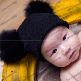Wholesale Double Ball Knitted Cap Baby - Cute Winter Beanie Hat With Fox Fur Pompom Knitted Hat For Baby Girls Boys Kids Child Soft Warm Double Fur Ball Earflaps Caps