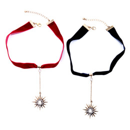 Wholesale Crystal Strip Wholesale - Wholesale 2017 Hot Sale Velvet Strip With Retro Hollow Star Pendant Necklaces For Women Red Black Color Trendy Elegant Women Choker Necklace