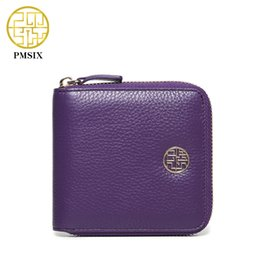 Wholesale Cowskin Leather Wallets - Wholesale- Pmsix 2017 Summer New Genuine Leather Wallet Cowskin Zipper Credit Card Wallet Fashion Mini Women Clutch Purse P410006
