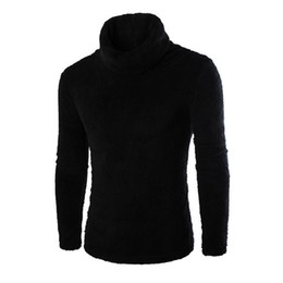 Wholesale Fashion Thin Blouses - Wholesale- 2017 New Men's Autumn Winter Warm Fleece Sweaters Fashion Solid Long Sleeve Turtleneck Pullover Top Bottoming Blouse Plus Size