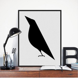 Wholesale Bird Picture Frames - Modern Nordic Minimalist Black White Animals Bird A4 Art Print Poster Abstract Wall Picture Canvas Painting No Framed Home Decor