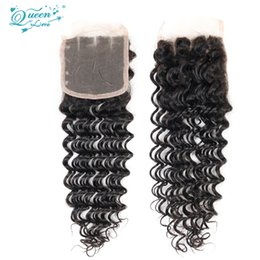 Wholesale Queens Hair Products Deep Wave - 7a Brazilian Deep Wave Closure Queen Love Hair Product Brazilian Lace Closure Deep Wave Unprocessed Brazilian Deep Wave Lace Closure