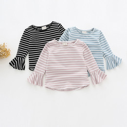 Wholesale Branded Kids Stripe Shirt - 2017 kids clothes Girls lotus leaf sleeves stripes T - shirt children 's cotton long - sleeved bottoming shirt three - color