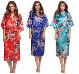 Wholesale Kimono Robe Satin Wholesale - Silk Kimono Robe Bathrobe Women Satin Robe Wedding Bridesmaid Sleepwear Sexy Robes Night Grow For Bridesmaid Summer LC414-1