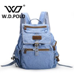 Wholesale Ladies Street Jeans - Wholesale- W.D POLO Gava Jeans leather Women Backpack high quality chic brand design lady street simple fabric school bags hot M2181