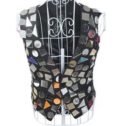 Wholesale Performance Mirror - 2016 fashion male singer DJ suit ds mirror irregular handmade product slim vest men stage performance bodysuit clothing costume