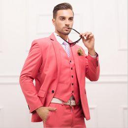 Wholesale Mens Pink Zipper Ties - Wholesale- Ltalian Luxury Mens Pink Suits Jacket Pants Formal Dress Men Suit Set men wedding suits groom tuxedos(jacket+pants+vest+tie)