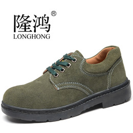 Wholesale Working Boots Steel Toe - Wholesale- big size men steel toe cap working safety shoes women plate bottom suede leather flats shoe platform low boots Zapatos Hombre