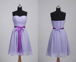 Wholesale Violet Lines - Sweetheeart neckline 2017 natural waist knee length short cheap violet evening bridesmaid dress