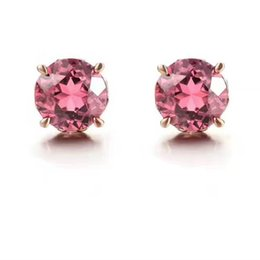 Wholesale Red Tourmaline Jewelry - Fashion Jewelry New Style Natural Round Rose Red Tourmaline Studs with 925 Sterling Silver Earrings for Women's Wedding Party