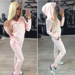 Wholesale Two Piece Jogging Suits - Wholesale- Sudaderas mujer 2017 bts women's tracksuits sport suit sweatshirt two piece set women hoodies jogging suits moletom feminino