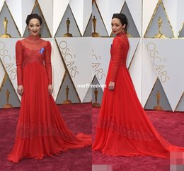 Wholesale Annual Academy - 89th Annual Academy Awards Ruth Negga Red Lace Celebrity Dresses Royal High Neck Long Sleeve Floor Length Red Carpet Dresses Cheap For Sale