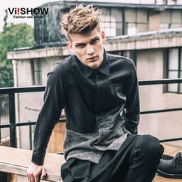 Wholesale Leather Mens Shirt Xl - Wholesale- VIISHOW Mens Dress Shirts Long Sleeve Hip Hop Slim Fit Casual 3XL Business Shirt Big Sizes Patchwork Leather Shirts C107853