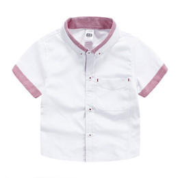 Wholesale Oxford Shirts Clothing - Brand Boy short sleeve shirt Kids Tops Soft Oxford Striped Gentle British England style shirts for boy children clothes 2017 new