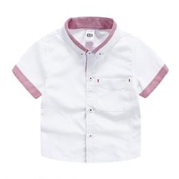 Wholesale Children Summer Shorts For Boys - Brand Boy short sleeve shirt Kids Tops Soft Oxford Striped Gentle British England style shirts for boy children clothes 2017 new