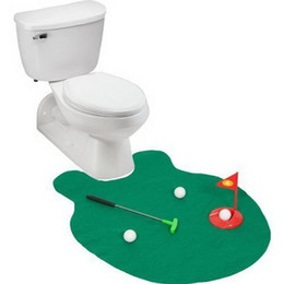 Wholesale Water Game Machines - Wholesale- bathroom set toilet set Water & Wood Toilet Bathroom Time Golf Game Toys Free shipping